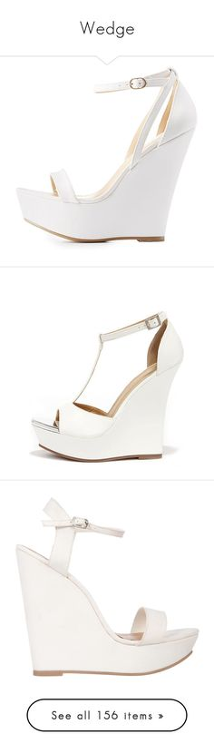 """""""Wedge"""" by alejaborrayo ❤ liked on Polyvore featuring shoes, sandals, heels and boots, white, white sandals, wedge sandals, strap sandals, white platform wedge sandals, white shoes and wedges"""