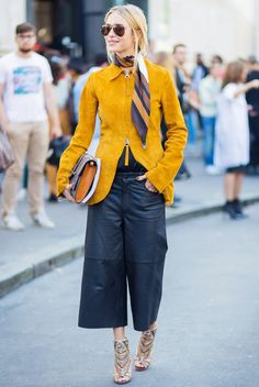 Day 27: Finish your look with a silky scarf. via @WhoWhatWear.  I love the yellow blazer.