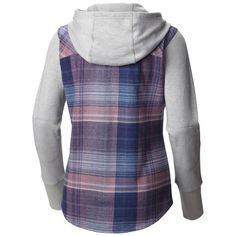 Columbia Sportswear Company Misses Dusty Green Plaid Canyon Point Flannel Shirt Hoodie from Blain's Farm and Fleet