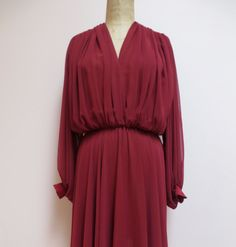 Vintage 1970's Chiffon Dress Medium/70's Burgundy by seekcollect