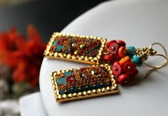 bright shades of  dyed Turquoise  cluster with clay floral gold earrings in hammered brass rectangle frames - When Colors Explode - $82.00