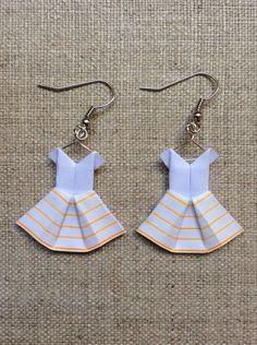 Boucles d'oreille robes en origami à jupon marinière : Boucles d'oreille par…