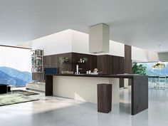 Contemporary kitchen / wood veneer / island / high-gloss - WAY by Michele Marcon - SNAIDERO