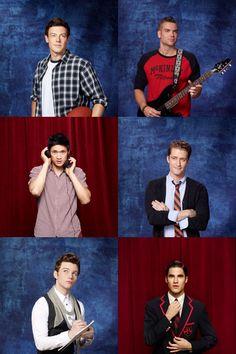 Boys of Glee Cast: Finn, Puck, Mike, Mr.Shoe, Kurt, Blaine
