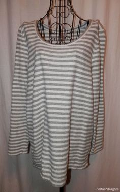 J. JILL TOP L Large Gray White Striped Cotton Knit Long Sleeve Casual Scoop Neck #JJill #KnitTop #Casual