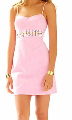 Pink seersucker Lily Pulitzer dress with lace detail