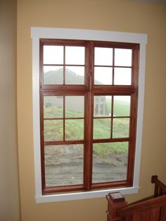 white window trim with oak windows? I wish there was an easier way to transform entire window :/ White Window Trim, Interior Window Trim, White Trim, Interior Doors, Interior Design, White Doors, White Oak, Interior Paint, Natural Wood Trim
