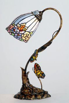 Tiffany ButterflyTable Lamp Last Few Tiffany Stained Glass, Stained Glass Lamps, Tiffany Glass, Stained Glass Patterns, Art Nouveau, Tiffany Table Lamps, Glass Butterfly, Butterfly Table, Tiffany Art