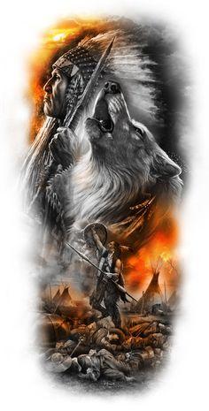 native sleeve design - Draw, Andrea Tattoo vorlagen Andrea native sleeve design - Draw, T Warrior Tattoo Sleeve, Wolf Tattoo Sleeve, Warrior Tattoos, Best Sleeve Tattoos, Tattoo Sleeve Designs, Tattoo Designs Men, Native American Tattoos, Native Tattoos, Native American Warrior