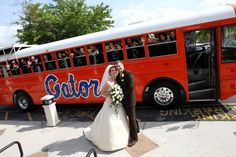 The wedding party arrived in style at the Timacuan Country Club in Lake Mary.  The groom owned the bus and is a huge Gators fan! I loved DJing this event!