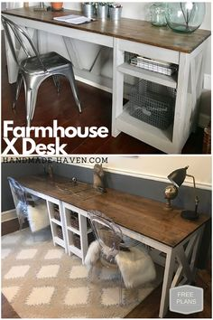 DIY Farmhouse Desk plans that will make your home office pop! Need an office farmhouse desk to spice up the home office? These DIY Desk Plans will make your office come to life. Home Office Space, Home Office Design, Home Office Furniture, Office Desk, Diy Furniture, Furniture Design, Design Desk, Furniture Buyers, Furniture Online