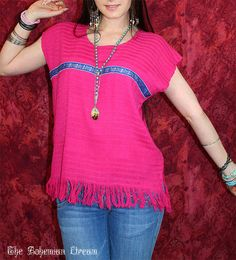 Bohemian top Mexican huipil fringe shirt hot pink summer festival One of a kind Boho Hippie style Upcycled clothing by TheBohemianDream, €19.00