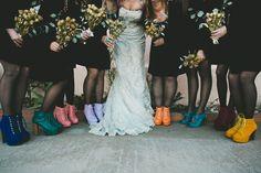 colorful bridesmaid shoes, photo by Bethany Carlson http://ruffledblog.com/best-of-2014-fashion #bridesmaids #weddingideas
