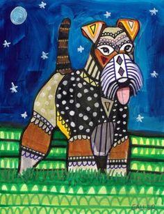 Wire Fox Terrier Art Print Dog Poster by HeatherGallerArt