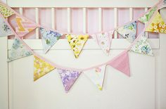Bunting Banner - Party Bunting - Pennant Banner - Flag Garland - Vintage Fabric  - 9 Feet on Etsy, $27.50