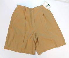 ef2eb2f6b9e4a LIZ Golf Womens Size 12 Washable Silk Shorts Camel Front Zip NWT  fashion   clothing