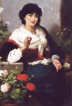 Spanish Lady with Flowers -- by Robert Kemm (British, 1827-- 1895)