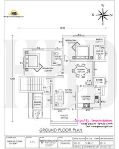 1325 sq-ft house with floor plan 2bhk House Plan, House Plans Mansion, Free House Plans, Model House Plan, Duplex House Plans, House Layout Plans, Bungalow House Plans, Small House Plans, House Floor Plans