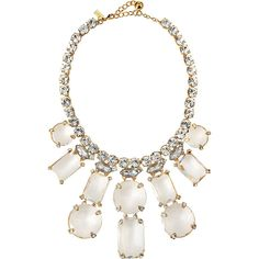kate spade new york opening night statement necklace, clear (585 PEN) ❤ liked on Polyvore featuring jewelry, necklaces, accessories, collares, clear, collar necklace, gold statement necklace, bib statement necklace, lobster clasp charms and beaded collar necklace