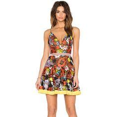 Alexis Yiana Mini Dress Dresses featuring polyvore, fashion, clothing, dresses, short dresses, cutout mini dress, fringe mini dress, mini dress and eyelet dress