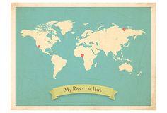 My Roots Customizable World Travel Map on OneKingsLane.com