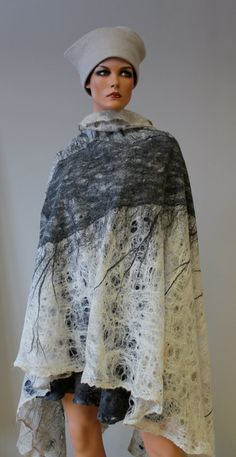 Felted shawl Shade by doseth on Etsy, €80.00 - looks like the cobwebs were built up in 2 layers