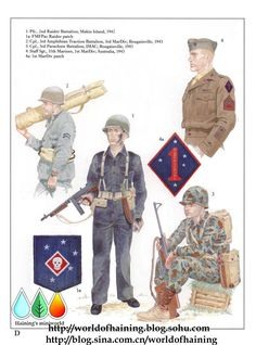 PACIFIC MARINES 1943 Bougainville - Pf, 2nd Raider Battalion, Makin Island, 1942 - 1a FMF Pac Raider patch -  2nd Cpl, 3rd Amphibious Tractors Battalion. 3rd Marine Division, Bouganville, 1943 - 3 Cpl, 3rd Parachute Battalion, IMAC, Bouganville, 1943 - 4 Staff SGT, 11th Marines, 1st MARINE DIVISION; Australia, 1943- 4a 1st MarDiv patch