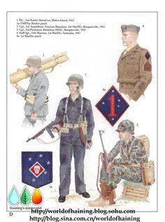 U.S.M.C. PACIFIC MARINES 1943 Bougainville - Pf, 2nd Raider Battalion, Makin Island, 1942 - 1a FMF Pac Raider patch -  2nd Cpl, 3rd Amphibious Tractors Battalion. 3rd Marine Division, Bouganville, 1943 - 3 Cpl, 3rd Parachute Battalion, IMAC, Bouganville, 1943 - 4 Staff SGT, 11th Marines, 1st MARINE DIVISION; Australia, 1943- 4a 1st MarDiv patch