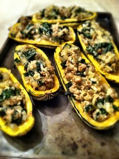 the best delicata squash recipe - Dishing Up the Dirt - sub veggie sausage Low Carb Recipes, Cooking Recipes, Healthy Recipes, Weeknight Recipes, Healthy Meats, Ww Recipes, Healthy Food, Healthy Eating, Vegans