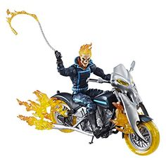 Marvel Legends Series 6-inch Ghost Rider with Flame Cycle - Johnny Blaze fires up his iconic motorcycle and hits the pavement as the streetwise hot-head, Ghost Rider. With Marvel Legends Series 6-inch-scale figures and vehicles, kids and collectors alike can start a legendary collection of comic- and movie-based Marvel characters. With this 6-inch-scale J...