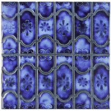 """Mondego 12.5"""" x 12.25"""" Porcelain Mosaic Floor and Wall Tile in Blue"""