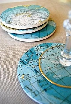 diy map projects   old maps into coasters (via @ BrightNest Blog) #DIY If you love to DIY ...