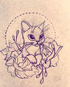 Cute cat tattoo design by Alyssa McNall