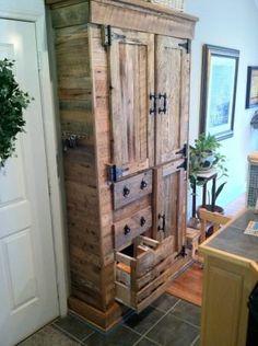 Reclaimed barnwood pine pantry