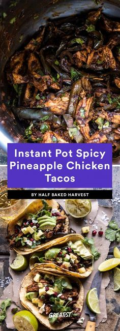 We're always looking for ways to make taco Tuesday an everyday occasion, and this recipe is one to add to the archives. Cooking the chicken in pineapple juice and spices like cumin and chili powder makes the chicken full of the juicy flavor you want in your taco. Pining for more pineapple? Good news, you'll be using it as the base of the salsa, complete with pomegranate seeds and jalapeño.