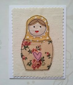 Russian doll   by jimjamdesigns Embroidery Cards, Free Motion Embroidery, Free Motion Quilting, Fabric Cards, Fabric Postcards, Freehand Machine Embroidery, Machine Embroidery Applique, Doll Sewing Patterns, Quilt Patterns