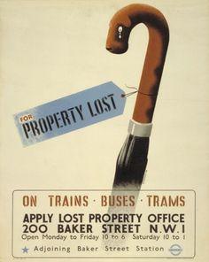 Cartel informativo de 1945 que informa sobre la sección de objetos perdidos del Metro de Londres
