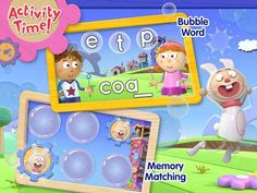 """Practice spelling and enjoy your favorite characters in the first """"Tickety Toc"""" digital adventure from Digital Educational Apps For Kids, P Words, Nick Jr, Brain Games, Color Shapes, Brain Teasers, Toddler Preschool, Spelling, Literacy"""
