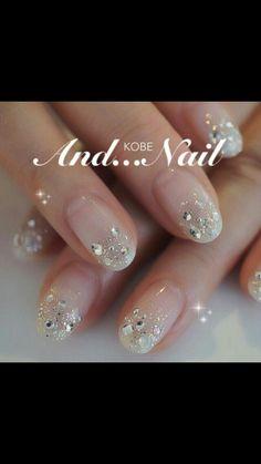 29 Trendy Wedding Nails Design Make Up Fancy Nails, Trendy Nails, Love Nails, Sparkle Nails, Bling Nails, Nail Manicure, Diy Nails, Wedding Nails Design, Bling Wedding Nails