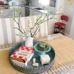 Seasonal Decor Updates-Spring Kitchen  I like to mixthings up around the Hive every now and again and I feel like  the changing seasons and holidays are the perfect opportunity to refresh my  decor and update it with fun new pieces. Today I'm sharing what I do in my  kitchen for the spring season.   One of my favorite places to decorate seasonallyis my dinning room table.  I usually stick with a few basics that are always in place, like the  galvanized metal tray,the burlap runner, ...