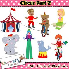 Circus Clip art set containing images of all the fun things you would encounter at a circus. $