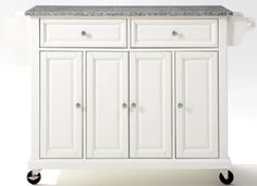 Vivianne Kitchen Cart- White with Granite Top
