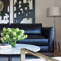 masculine, midcentury mod meets edgy living room