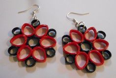 "Red and Black Handmade Paper Earrings 1 3/4"" x 1 3/4"" #Handmade #DropDangle"