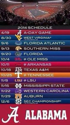 Oh yes it's very awesome line-up of games for 2014 season this year. Roll Tide!!!!!
