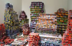 "Jean Shin made this Chance City, 2001-09 It made of $32,404 worth of discarded ""Scratch & Win"" losing lottery tickets."