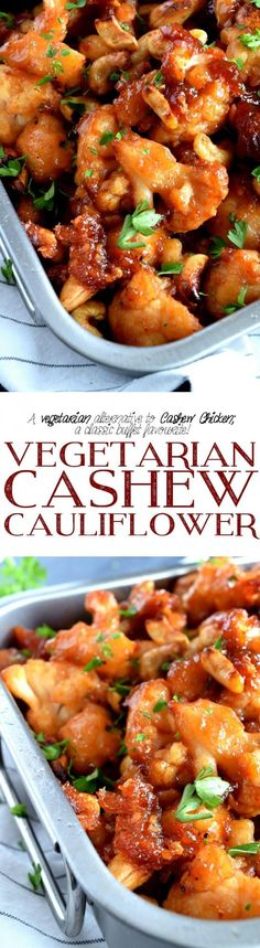 Vegetarian Cashew Cauliflower – Lord Byron's Kitchen - Vegan Asian Side Dish Recipes, Vegetable Recipes, Vegetarian Recipes, Cooking Recipes, Healthy Recipes, Healthy Food, Vegetarian Casserole, Vegetarian Options, Delicious Recipes