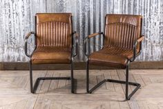 Stylish leather dining room chair from our large range of vintage inspired seating. Also ideal for an office or restaurant. In stock now, call us to order.