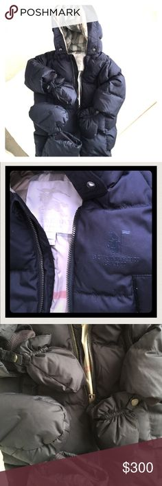 Burberry Baby Puffer Snowsuit w mittens n booties Almost new, just beautiful one piece 100% duck down Snowsuit to keep baby warm. Has snap on mittens and booties also down. Attached down hood. Soft, not stiff like other Snowsuits. Burberry Jackets & Coats Puffers