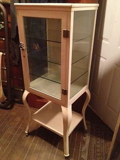 Antique Medical Cabinet w Cabrio Legs dental metal steel glass machine age $1250